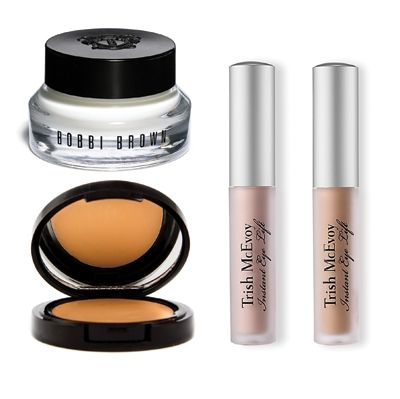 Bobbi Brown Hydrating Eye Cream, Eve Pearl Salmon Concealer and Trish McEvoy Instant Eye Lift