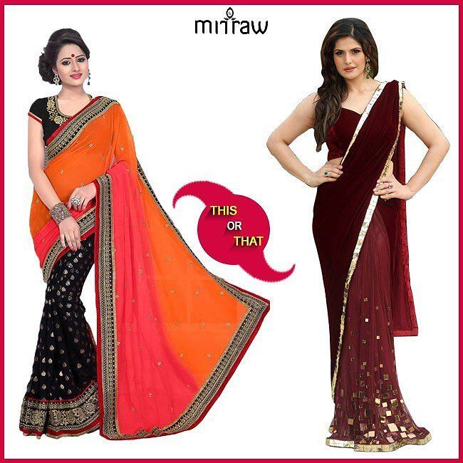 LEFT OR RIGHT?? Which saree do you like more! Comment Tag Like & Share Follow us on @mirraw  Visit m.mirraw.com/insta  DM or whatsapp on 91 8291100288  Worldwide Delivery  7 day return policy  #ThisorThat #LeftorRight #sarees #colors #tag #comment #like #instagood #choose #halfsarees #blouse #blouseStitching #mirrawsarees