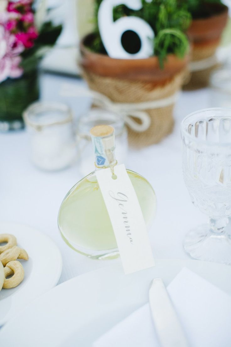 LIMONCELLO favors ae a great keepsake for guests at this wedding in Apulia