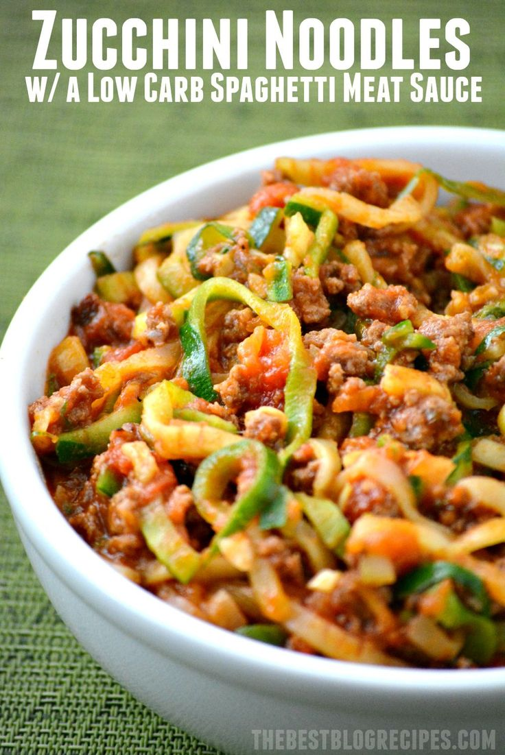 Zucchini Zoodles in a Low Carb Spaghetti Sauce