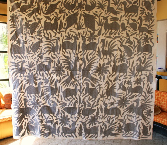 Ready to ship Grey Otomi  Jazz up your next upholstery project  with a hand embroidered Piece. $295.00, via Etsy.