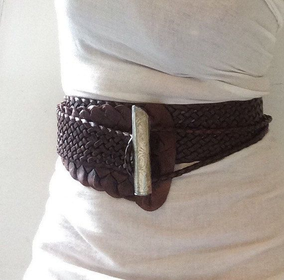 WIDE LEATHER BELT, 42 inches,  Braided leather belt, waist belt by ScandaloAlSole