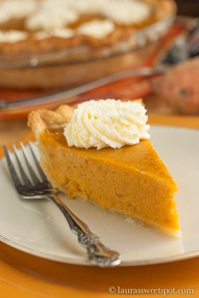 Pure, un-adultered sweet potato goodness- in a pie shell! Good Ol' Fashioned Sweet Potato Pie.