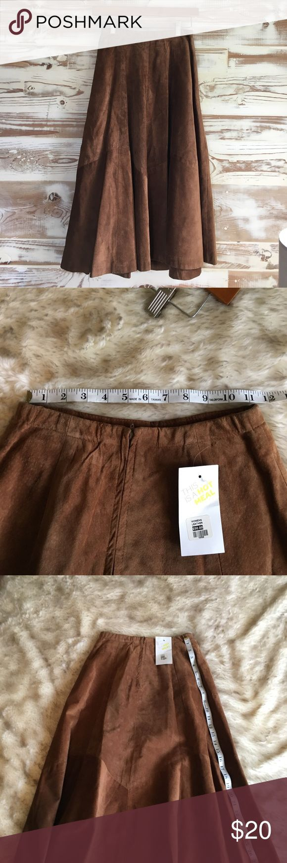 Tan leather skirt Tan leather skirt, tags still on but some unknown damage has happened to the back bottom of the skirt. It's practically blends in though. Other than than great condition. Great leather. Very flattering waist Brooks Brothers Skirts A-Line or Full