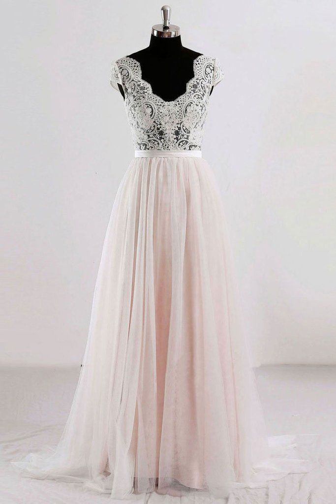bf3c62c1466 Champagne v neck lace tulle long prom dress