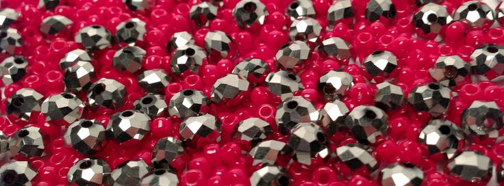 Imperial crystal metallic silver and red toho seed beads