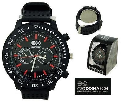 CROSSHATCH Mens Analogue Watch Black Face / White Ring / Red Marks BNIB �17.99