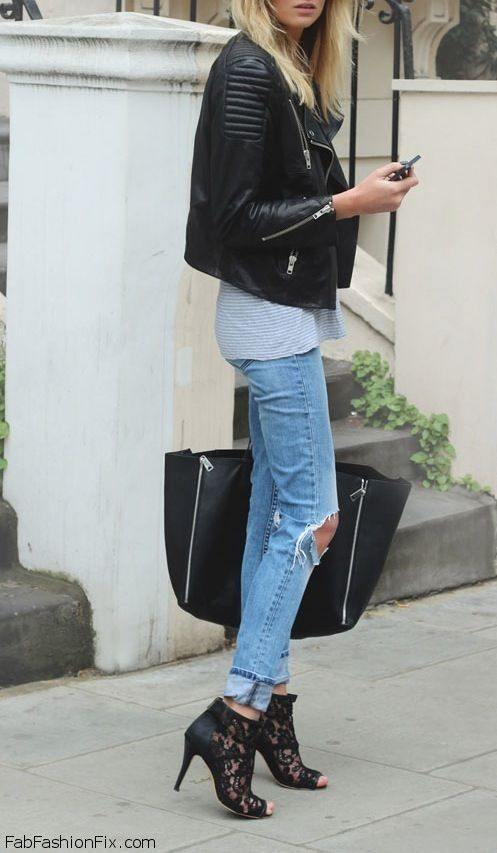 Spring style with leather jacket and ripped boyfriend jeans