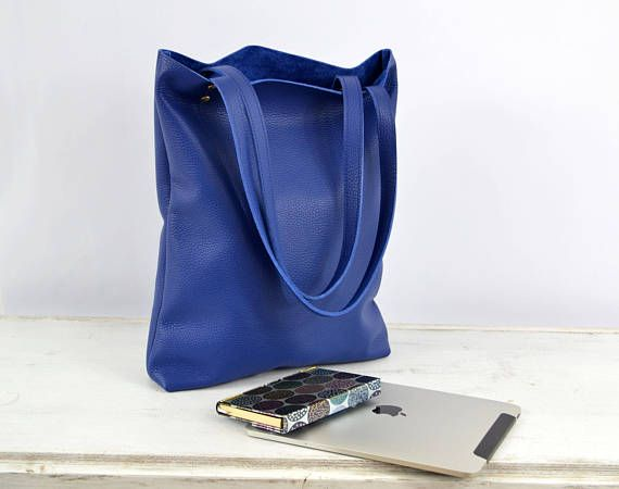 LEATHER TOTE Bag Royal Blue Leather Tote Leather Laptop Bag
