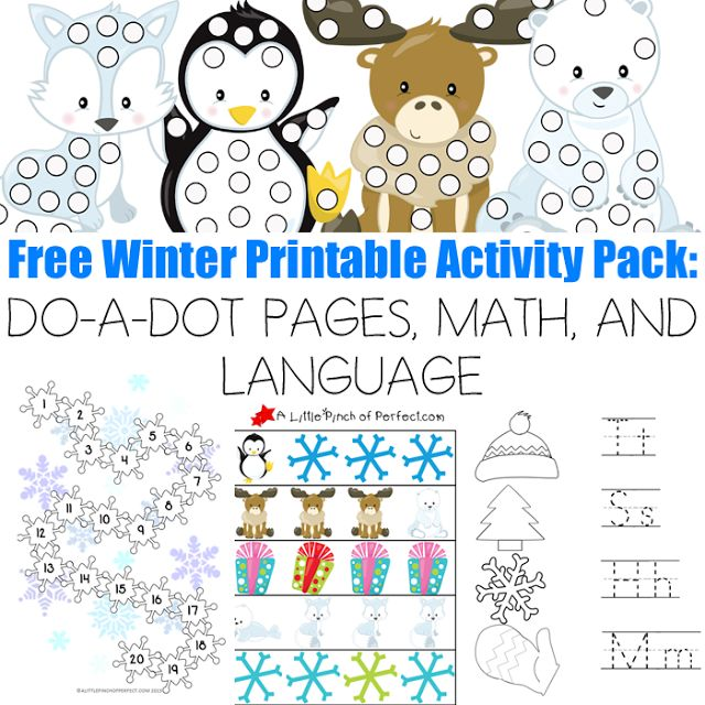 Free Winter Printable Activity Pack: DO-A-DOT PAGES, MATH, AND LANGUAGE -