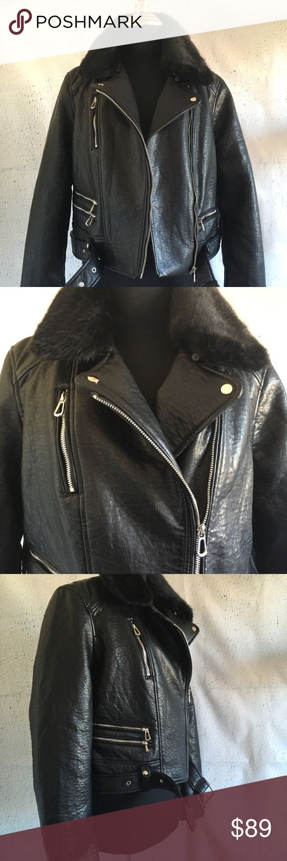 Zara TRF Faux Leather Moto Biker Jacket Large Moto biker