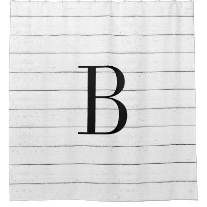 Rustic Faux Wood Shiplap Monogram Shower Curtain - faux gifts style sample design cyo