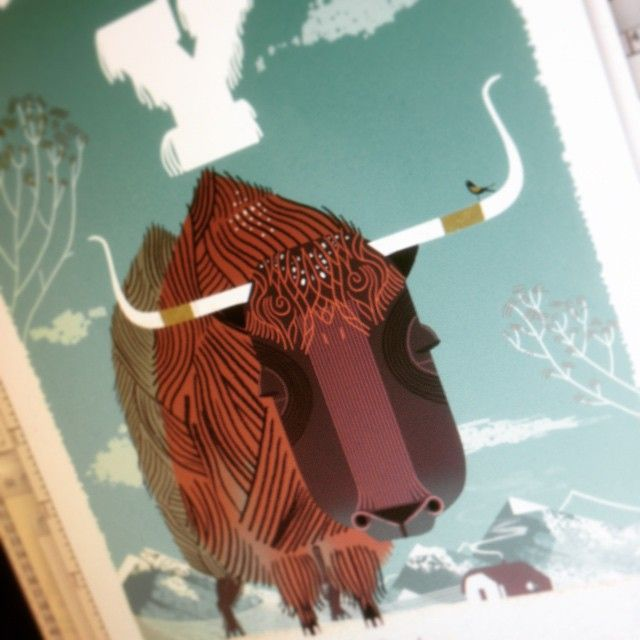 A new Alphamal ABC print by Graham Carter getting ready for The All Creatures Show | May 2015 | Ink_d Gallery | #Allcreatures #Yak #illustration #printmaking #BrightonFringe #Alphamals #ABC #Alphabet
