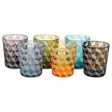 Buy Pols Potten Block Glass Tumbler, Set of 6, 320ml, Assorted Online at johnlewis.com