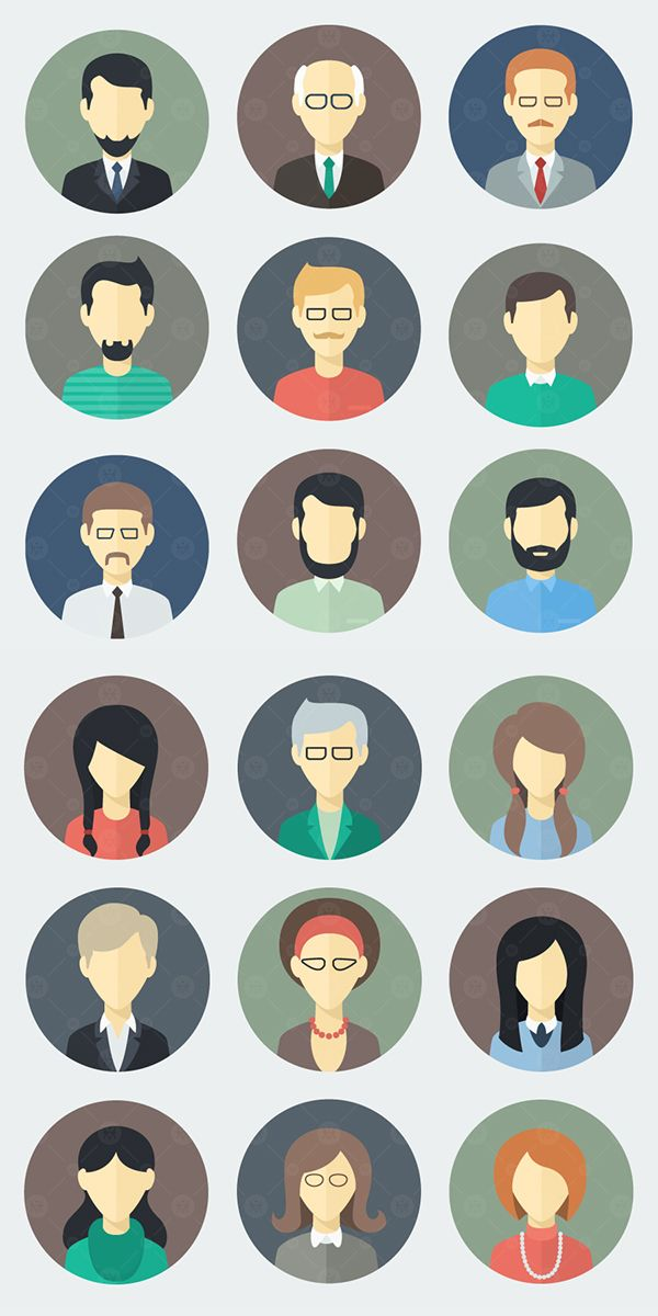 Face Icons in a Flat Style on Behance