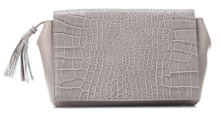 wardow.com - #animalprint, #Bogner, Disco Aiko Clutch Leder grau 23 cm