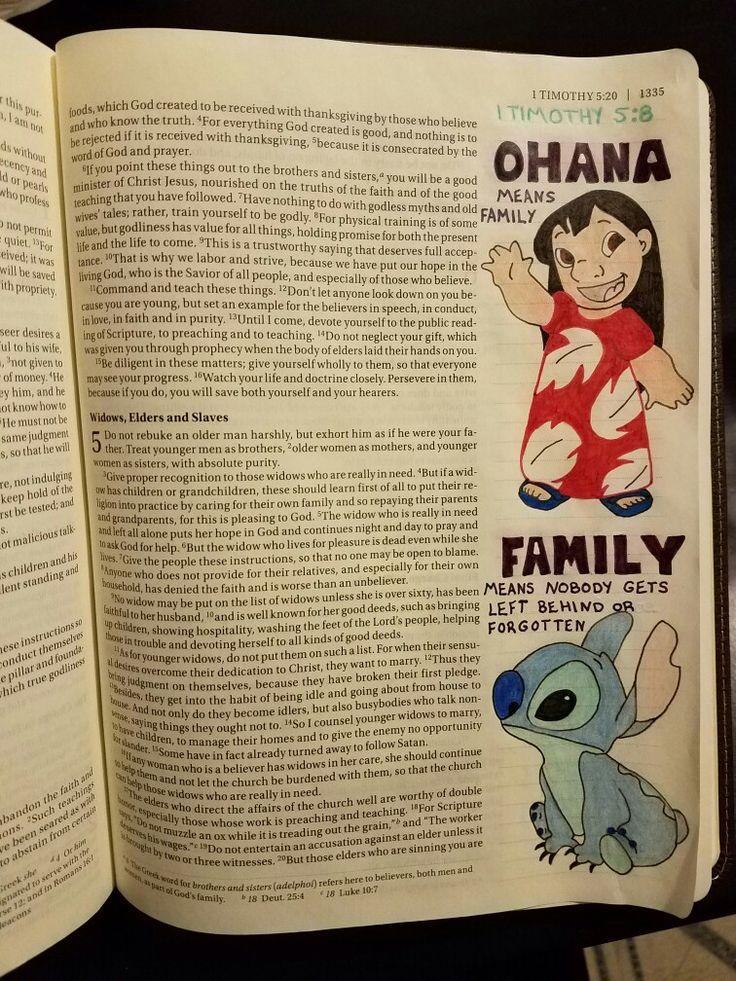 Terra Ragan: Bible Journal - 1 Timothy 5:8 Lilo & Stitch - Ohana