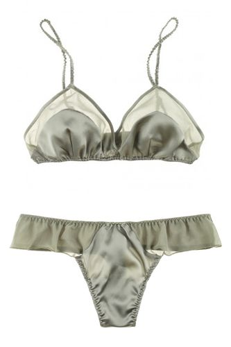La Fee Verte Silk and Mesh Bralette and Mesh Shortie.