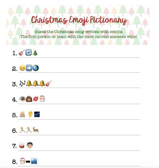Christmas Emoji Pictionary. Christmas Group Game Friend