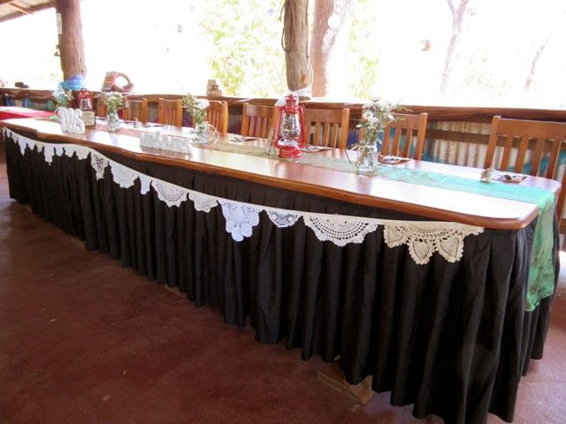 Black Table Skirt for Bridal / Buffet table. Available for hire from Ringers Rest Functions Venue.