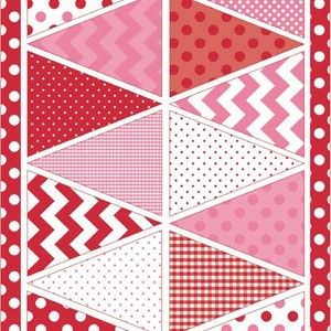 Guirlande fanions rouge rose R. BLAKE