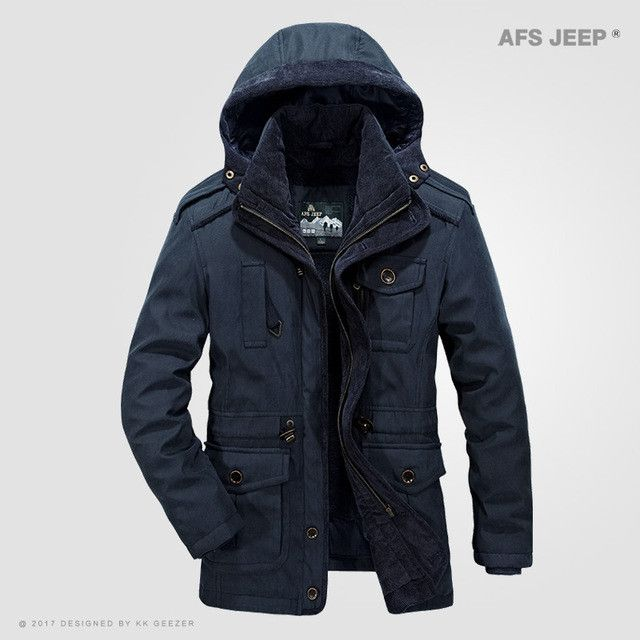 Winter Jacket Men Windproof Single Breasted Solid Hood Warm Coat Thick Cotton-Padded Famous Thicken Parkas