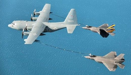 For the first time, a pair of F-35C Joint Strike Fighters have simultaneously refueled from a KC-130 tanker aircraft.