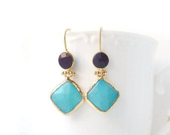 Dark Violet and Blue Jade Double Stone Hook Gold Plated Earrings