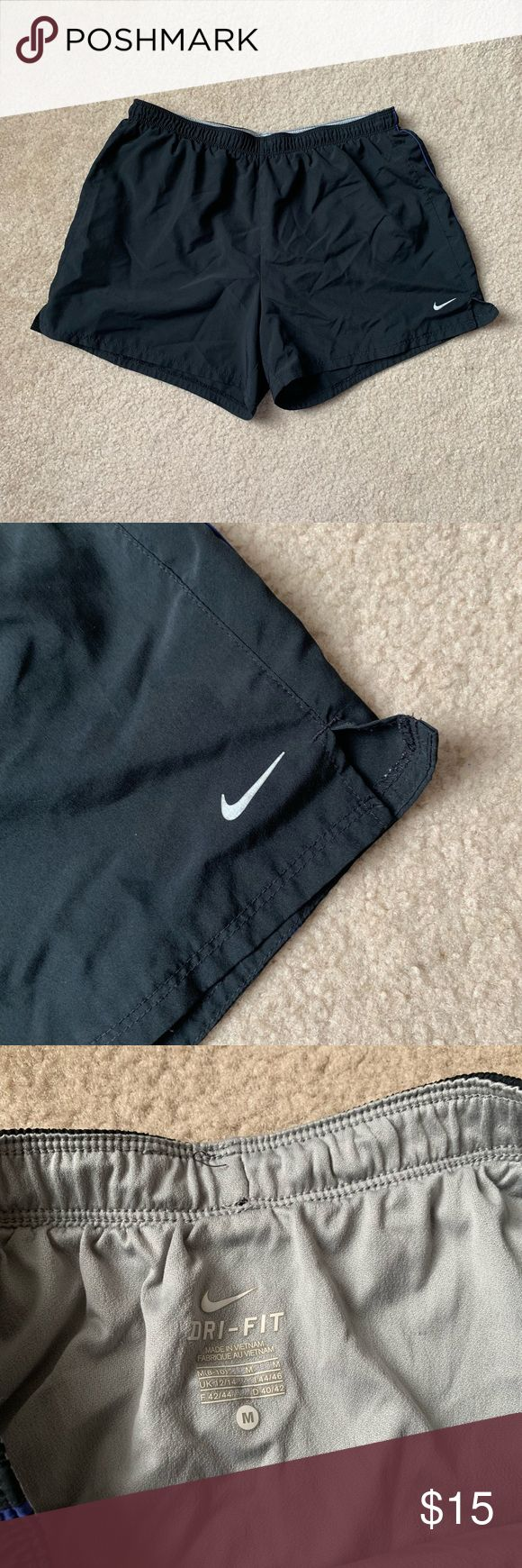 Black Basic Nike Running Shorts with Purple Stripe size- M follow us on instagram @shopmonowi for updates     tags- cute, aesthetic, vintage, thrifted...
