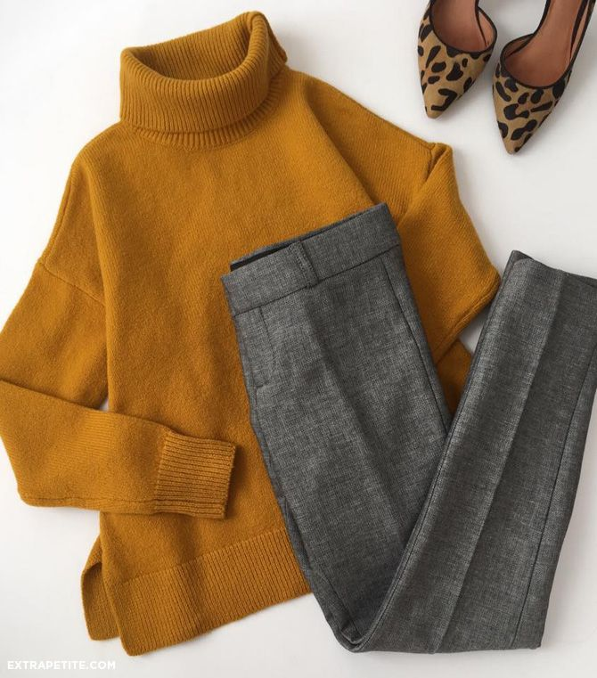 not my colors, but grey (plaid) trousers + big sweater looks good.
