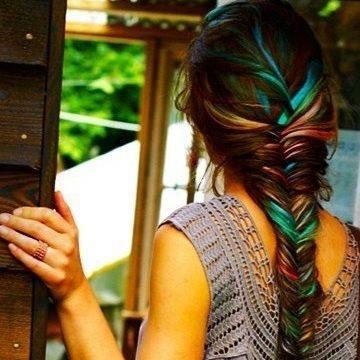 Hair chalking multi-colored fishtail braid