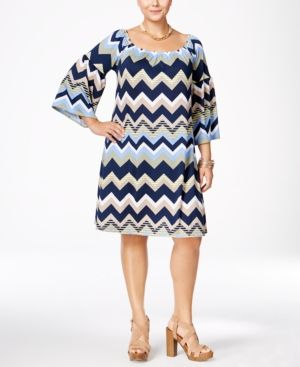 Love Squared Trendy Plus Size Chevron-Print Shift Dress - Green 2X