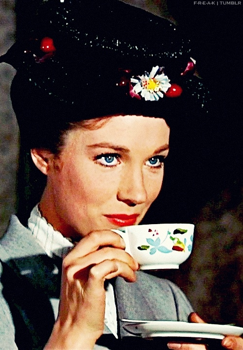 Mary Poppins enjoys a cup of tea. We wonder what her favourite tea would have been...any suggestions?