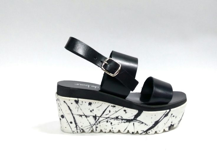 Splash duet _Black Handcrafted & painted leather wedge