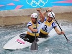 Great Britain's Tim Baillie and Etienne Scott compete in the men's Canoe Double Slalom