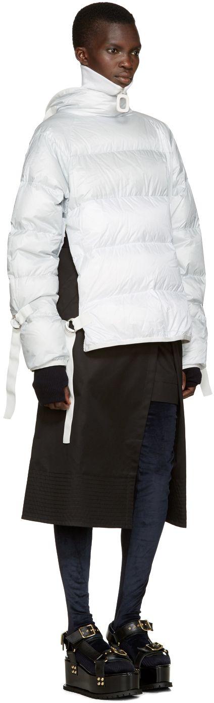 Sacai - Navy Tall Velvet Socks, Black Trench Wrap Skirt, Grey & White Down Jacket