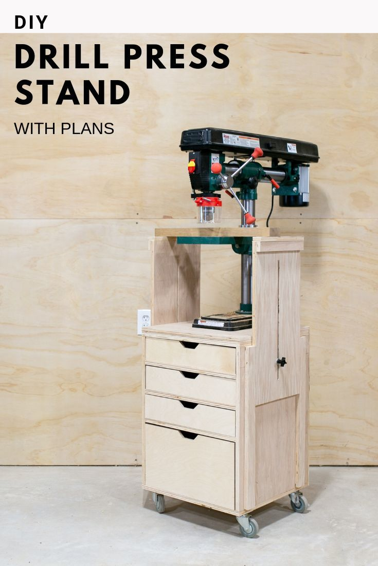 Support Mobile Pour Perceuse A Colonne Avec Plans Colonne Mobile Perceuse Plans Support Drill Press Stand Wood Shop Projects Drill Press