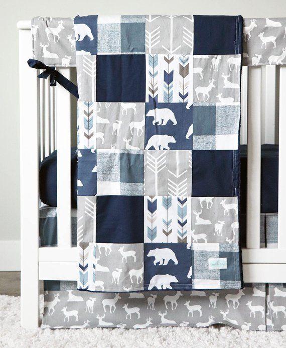 Woodlands Bedding Boy Nursery Bear Crib Bedding Navy Blue Sheet