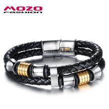 MOZO MODE Hommes Bijoux Noir En Cuir Tressé Corde Chaîne En Acier Inoxydable Aimant Boucle Bracelets pour Hommes Parti Cadeaux MPH887(China (Mainland))
