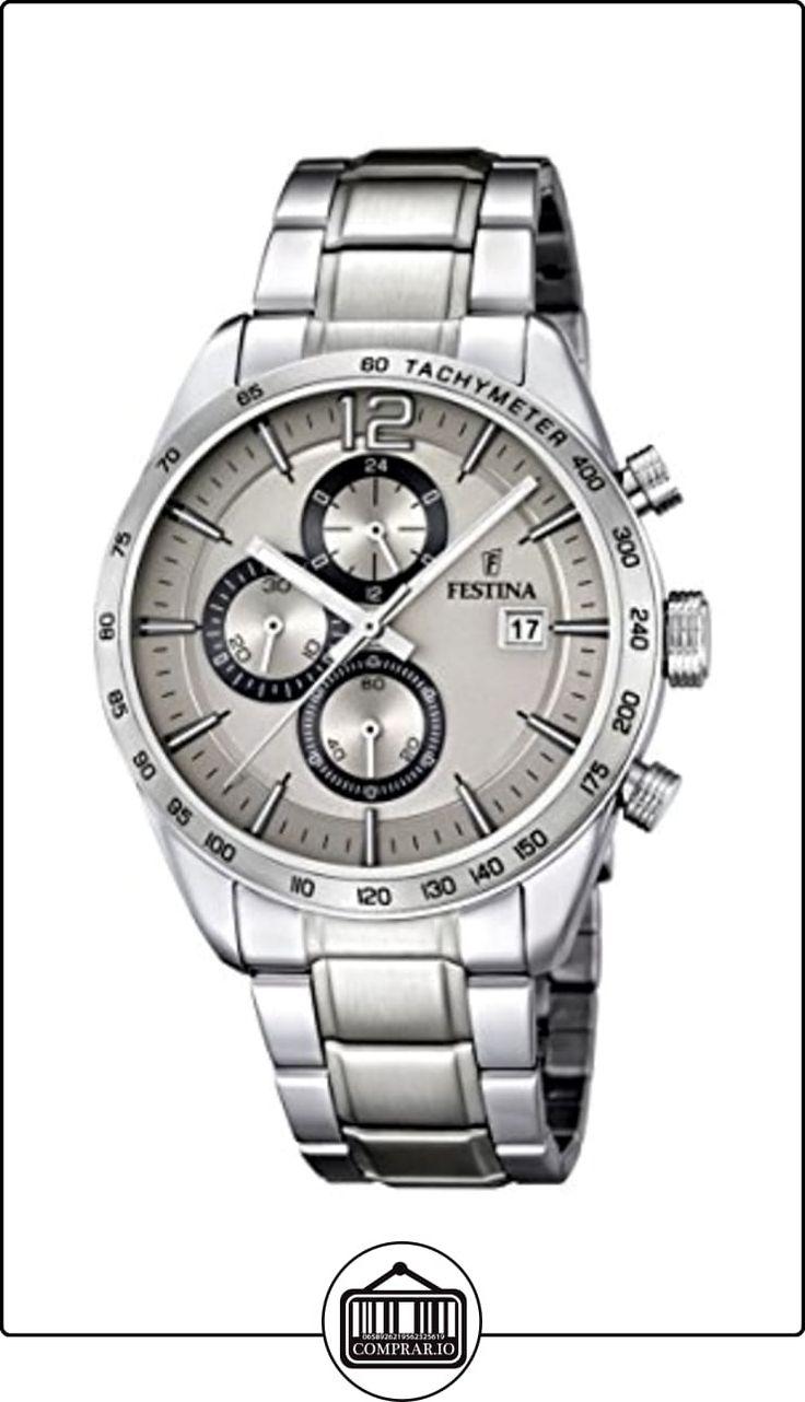 Festina F16759/2 - Reloj de cuarzo para hombre, con correa de acero inoxidable, color plateado  ✿ Relojes para hombre - (Gama media/alta) ✿