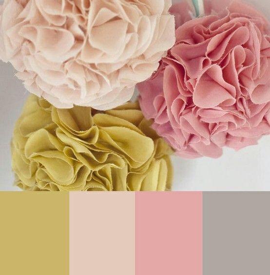 Fabric Pom Poms: Window Decoration | Pink grey, Gray color ...