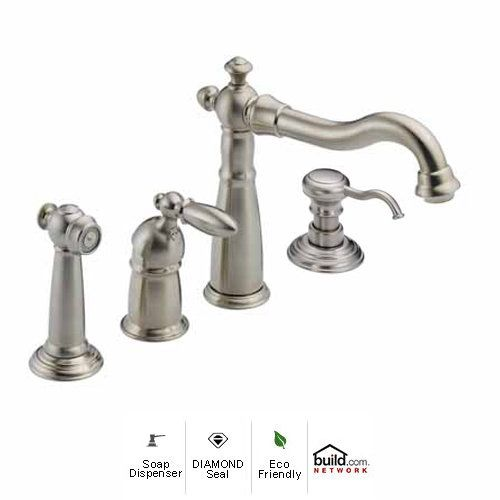 View the Delta 155-DST-SD Victorian Side Spray Kitchen Faucet with Diamond Seal Technology - Includes Soap Dispenser at FaucetDirect.com.