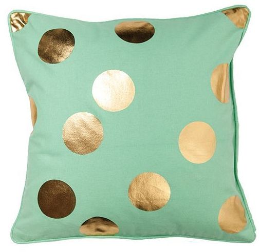 General Eclectic Dots Cushion - Mint & Gold