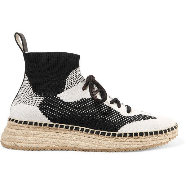 Alexander Wang Dakota stretch-knit espadrille sneakers ($470) ❤ liked on Polyvore featuring shoes, sneakers, black, black and white espadrilles, slip-on shoes, black and white sneakers, summer shoes and slip on sneakers