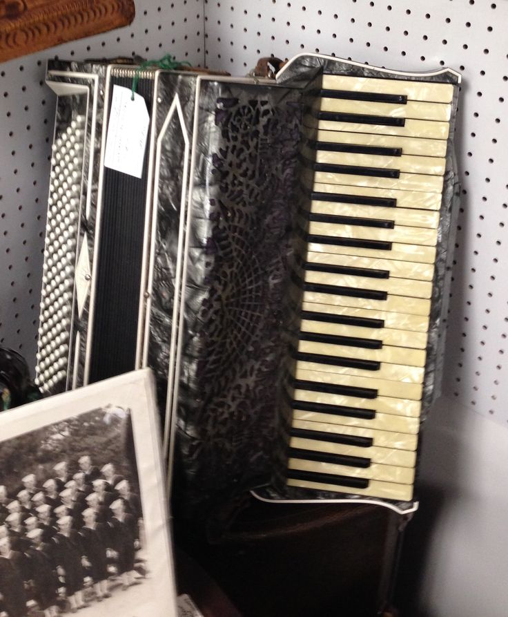 Wurlitzer Accordion for sale at our booth Ontario Antiques Mall