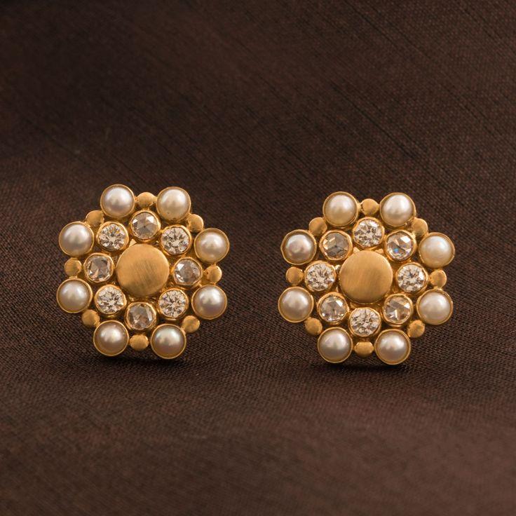 Ahalya Diamond and Pearl Ear Stud A1005 - Jewellery / All Jewellery - Parisera