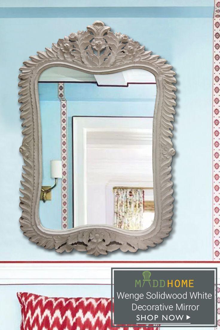 Wenge Solidwood White Decorative Mirror.