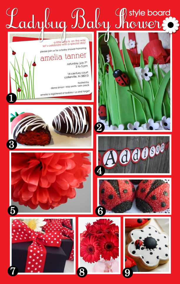 ladybugs ladybug party and baby showers on pinterest. Black Bedroom Furniture Sets. Home Design Ideas
