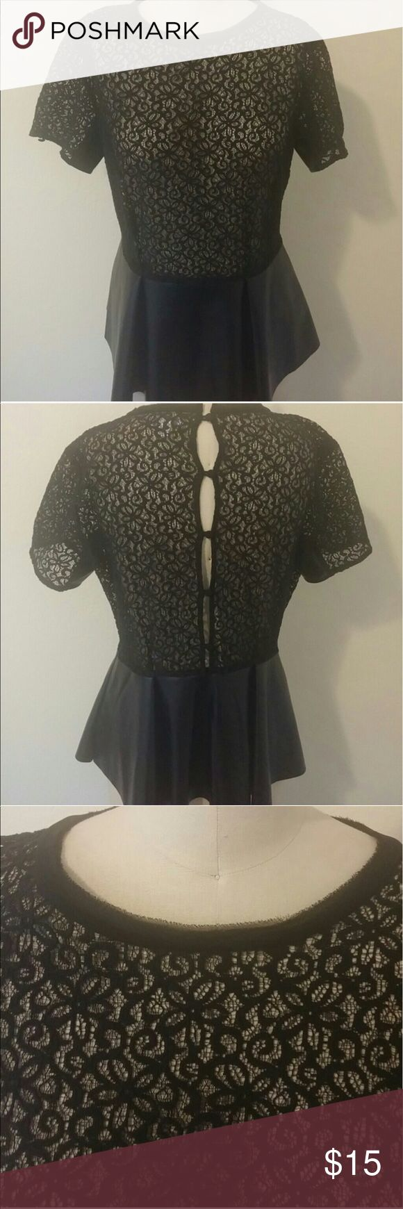 Bisou Bisou Lace & Faux Leather Peplum Top Bisou Bisou Lace Top with Faux Leather Peplum. Buttons down on the back and has a side zipper underarm (left side). Worn once, like new! Bisou Bisou Tops