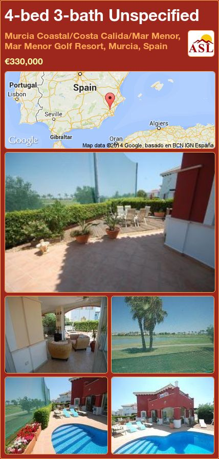 4-bed 3-bath Unspecified in Murcia Coastal/Costa Calida/Mar Menor, Mar Menor Golf Resort, Murcia, Spain ►€330,000 #PropertyForSaleInSpain